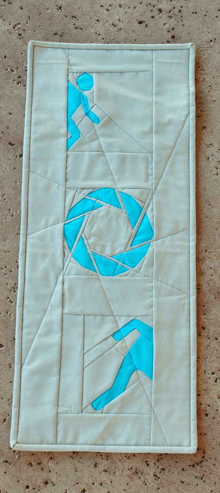 quilted portal aperture labs wall hanging