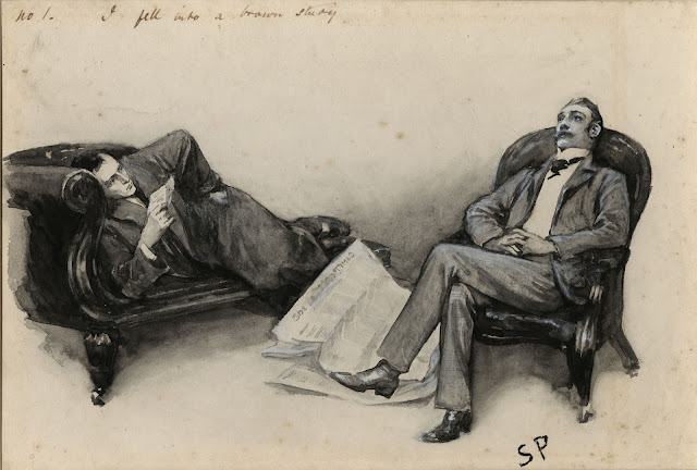 A scene from The Cardboard Box - illustrated by Sidney Paget