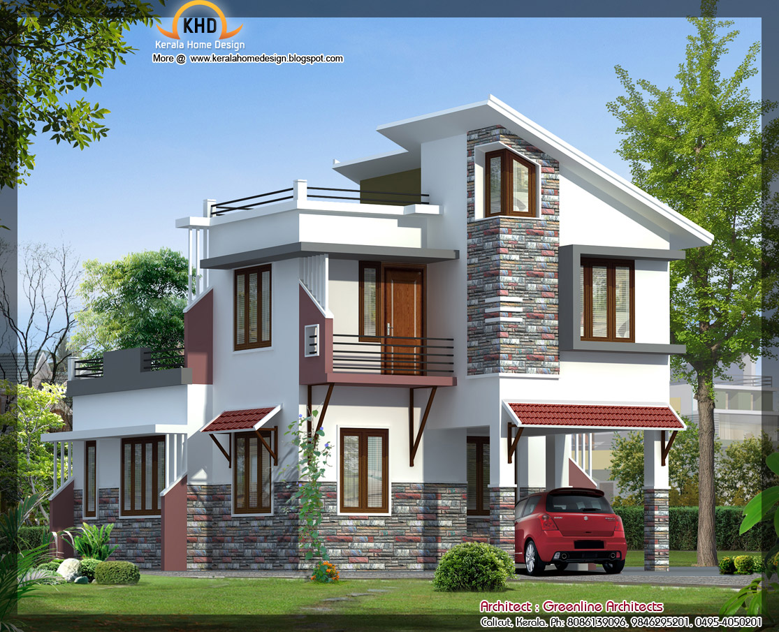 Modern villa elevation 1577 sq ft home appliance for New kerala house plans with front elevation