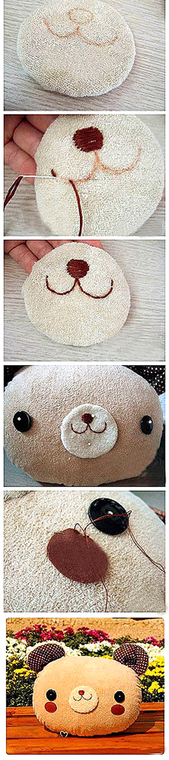 bear pillow making sewing