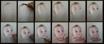 Retrato paso a paso de un bebé