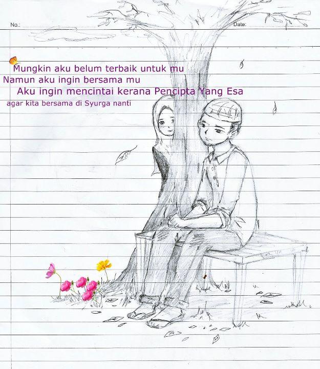 gambar kartun muslim muslimah pria wanita pasangan