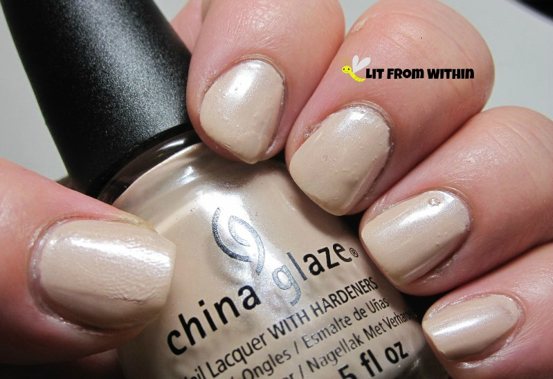 China Glaze Don't Honk Your Thorn, a pretty nude with the slightest shimmer/frost.