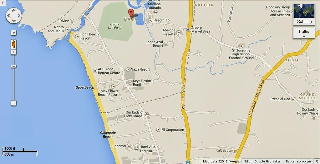 Baga India  city photo : Baga Beach Goa India Location Map,Location Map of Baga Beach Goa India ...