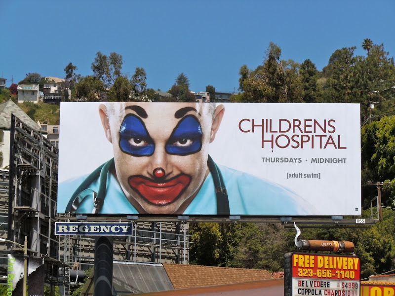 Childrens Hospital clown billboard