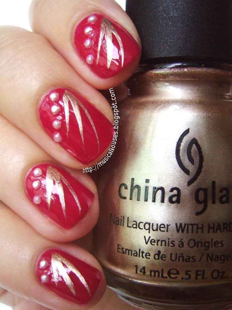 Chinese new year nail art red gold and pearls just a bit for this mani i used a rimmel fruities lasting finish polish in cranberry zest this was actually a launch from a couple of years back that featured prinsesfo Choice Image