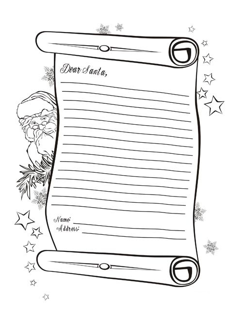 Christmas Coloring Pages Letter To Santa Claus Letter To Santa Coloring Page