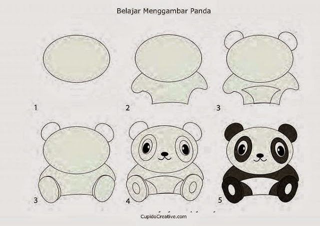 Learn to draw a panda for kids