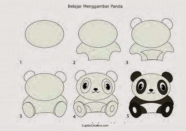 Cara menggambar panda bagi anak anak