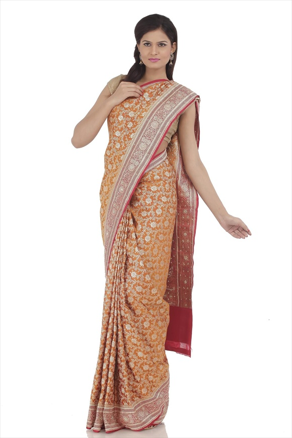 Old Gold Satin Banarasi Saree