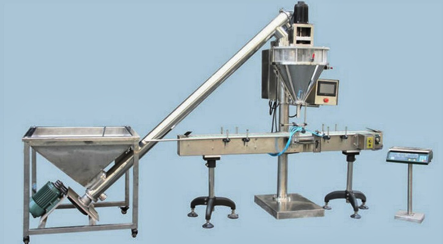 semi auto powder mixer filling packaging machine with automatic feeder pulver Abfüllmaschine
