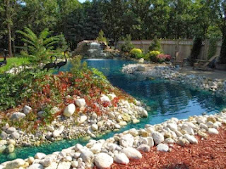 Home and garden river rock landscape design ideas