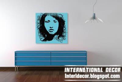 pop art painting, blue pop art painting