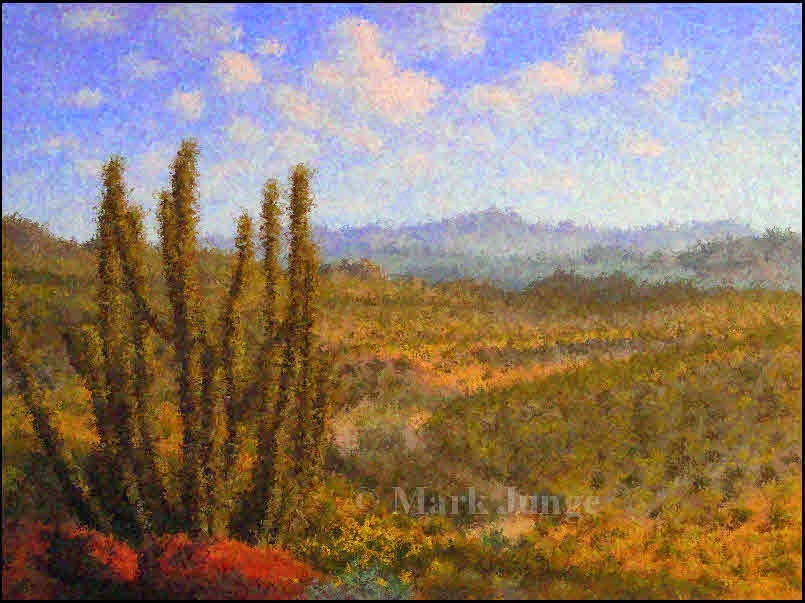 Arizona, Organ Pipe Cactus National Monument, desert, western, landscape, paintings, impressionism, impressionist, digital manipulation
