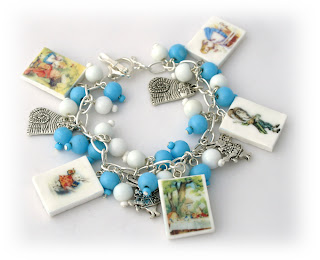 Alice In Wonderland Charm Bracelet handmade from Polymer Clay