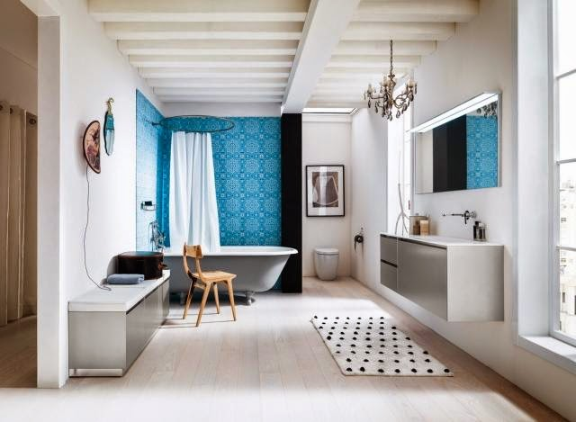 Muebles Para Baño Recubre:gris y azul donde apreciamos la originalidad de la combinación de