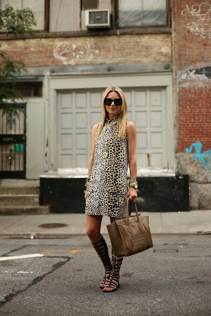 Leopard Sleeveless Dress With Black Sandal And Light Brown Hand Bag