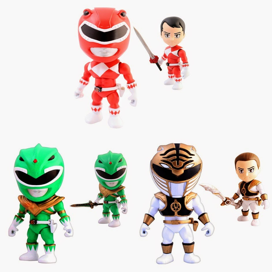 Mighty Morphin Power Rangers Mini Figure Series 1 by The Loyal Subjects - Red Ranger, Green Ranger & White Ranger
