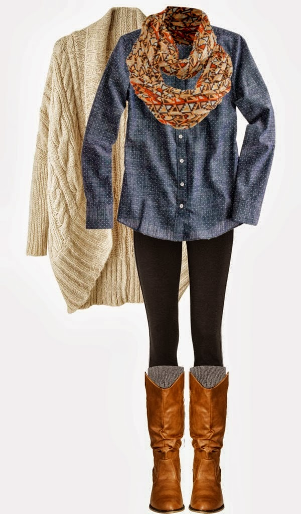 Combination of Blue Blouse and White Cardigan with Scarf and Long Boots & Socks