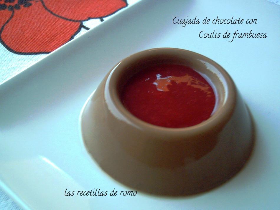 """""""cuajada de chocolate con coulis de frambuesa"""""""