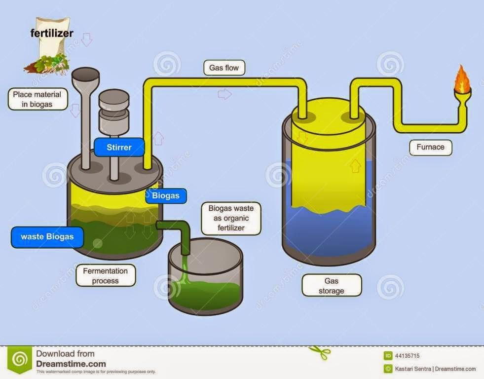 Biogas Process Vector Illustration