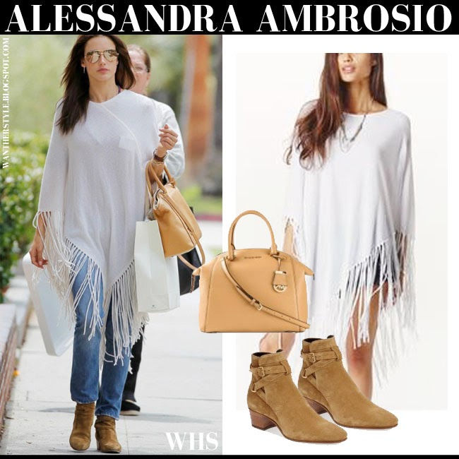 Alessandra Ambrosio in white fringe Minnie Rose poncho, brown suede Saint Laurent Blake ankle boots with brown leather Michael Kors tote what she wore may 15 spring streetstyle