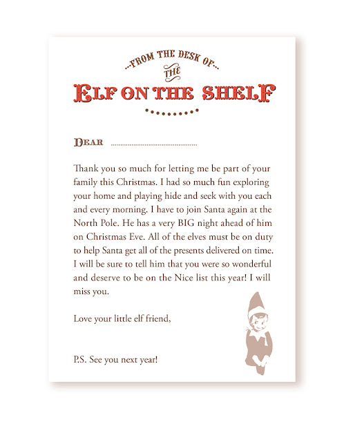 ... : {Freebie} Your very own Goodbye Letter from the Elf on the Shelf