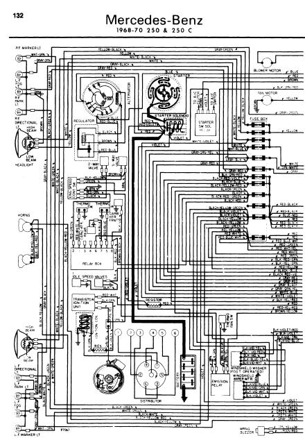 mercedes 250 1968 70 wiring diagrams manual