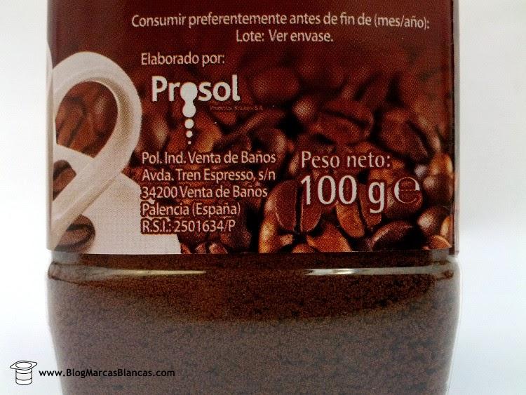Prosol fabrica el Café soluble clásico descafeinado Hacendado de Mercadona.