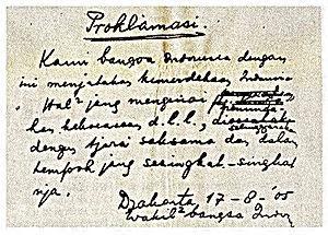 Isi teks proklamasi 17 agustus 1945 pada Naskah Klad