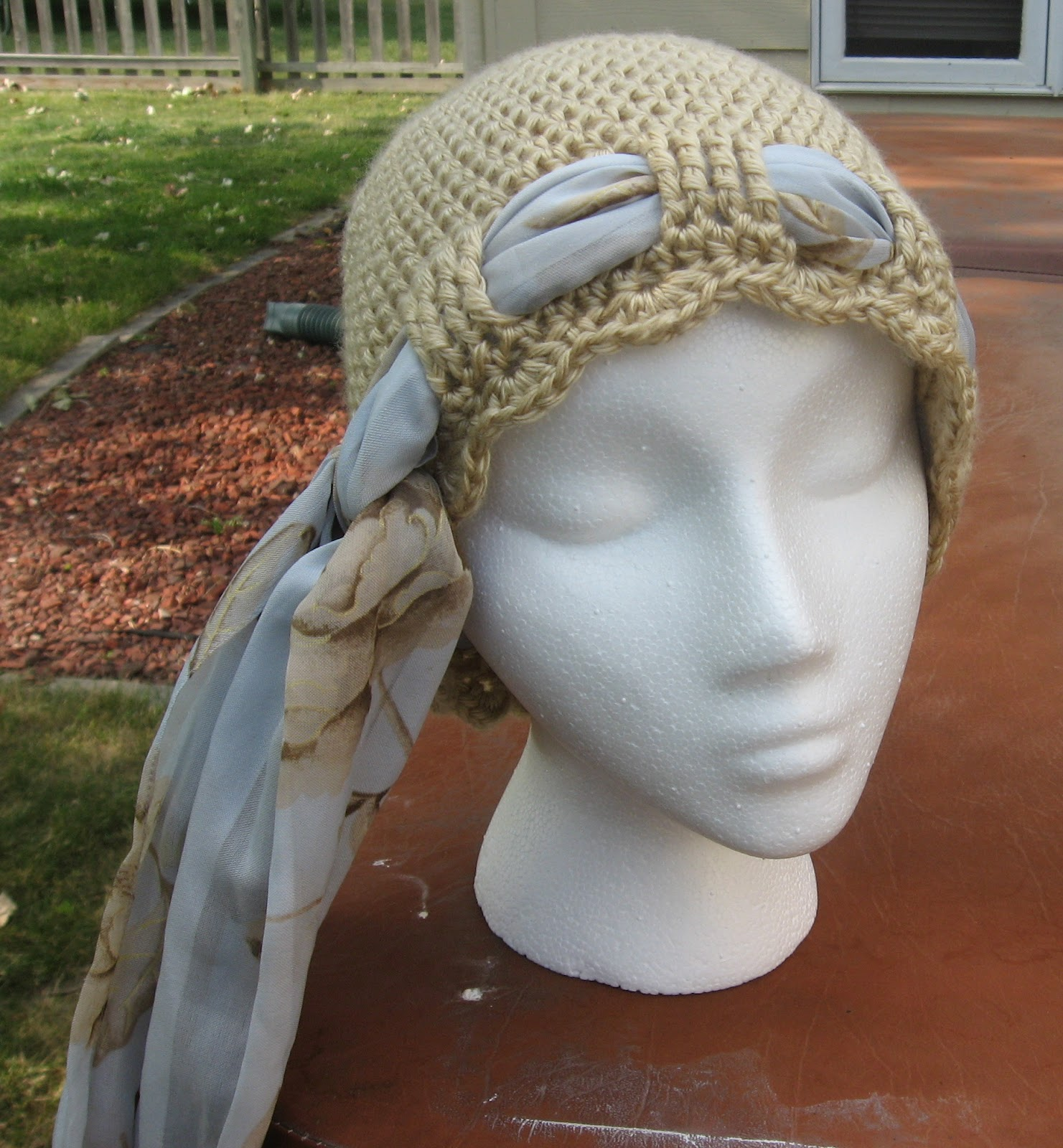 First is the Crochet Chemo Cap with Tie Scarf .