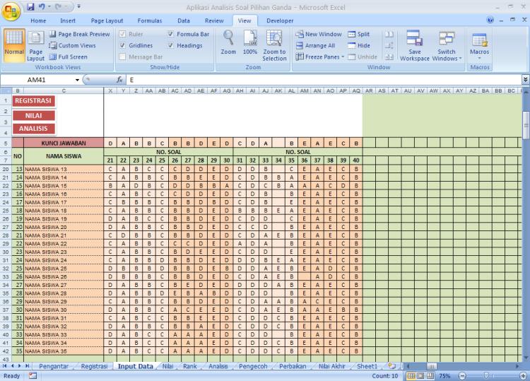 Kunci Jawaban - Analisis Soal Pilihan Ganda dengan Microoft Excel