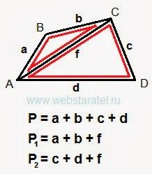 Диагональ четырехугольника и периметр треугольников. Решение задачи. Формула периметра четырехугольника и формулы периметров треугольников. Математика для блондинок.