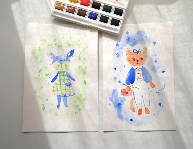 aldea del arce, illustration, watercolors, acuarelas, ilustración, animal crossing, cute, shop, tienda, buy