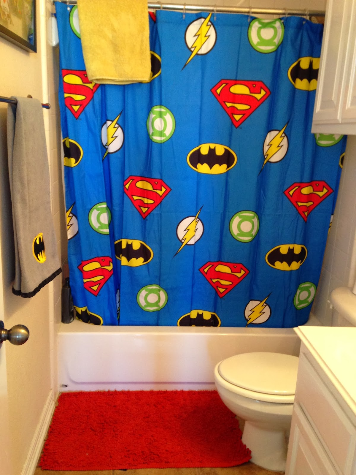 Add A Superhero Themed Shower Curtain How To Thrill An 8 Year Old And 18 Boy
