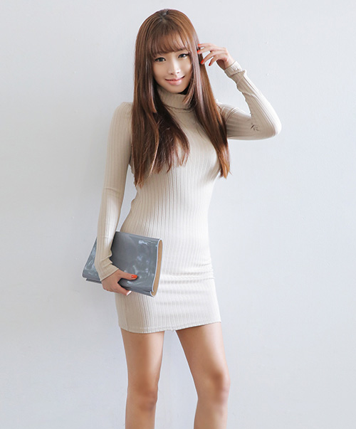 High-Neck Color Ribbed Dress