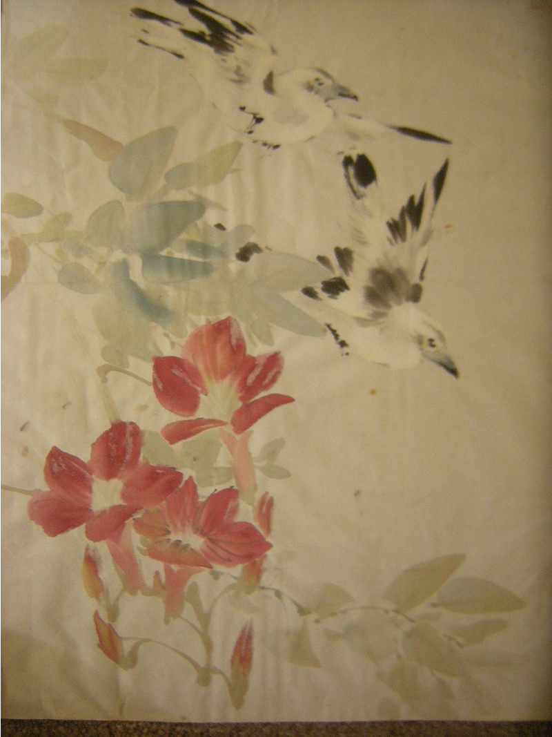 Original Chinese watercolor painting of 2 birds flying over flowered branch. Artist unknown.  ??七作  Date:  Ji Mao 己卯