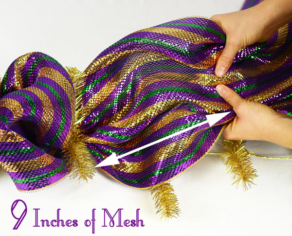 "Measure about 9"" of deco mesh per loop of the Mardi Gras garland"