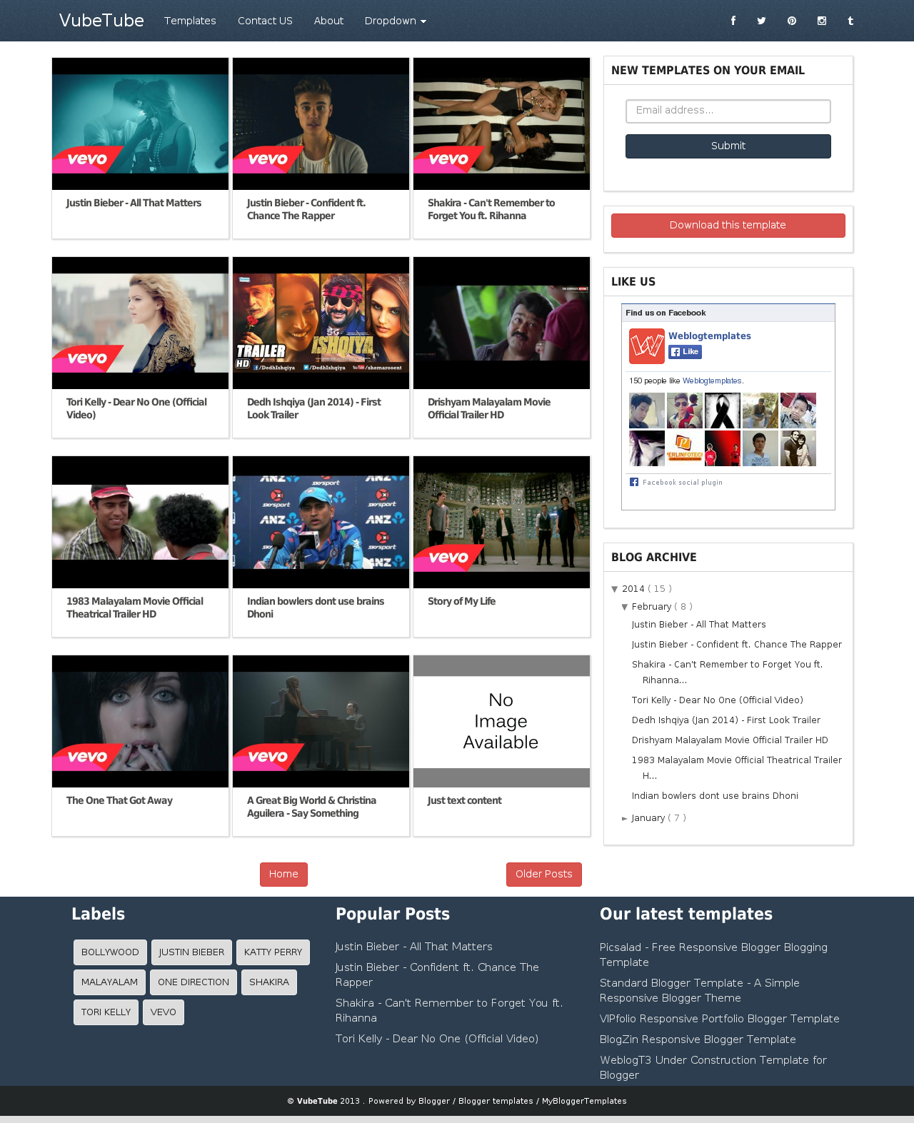 VubeTube - Responsive Video Blogger Template | Free Video Blogger ...