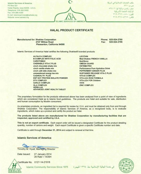Shaklee Halal Cert 2014