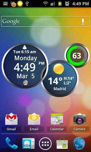 Android Rings Digital Weather Clock