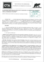Informamos al Delegado Territorial de la falta de comunicación de accidentes e incidentes de trabaj