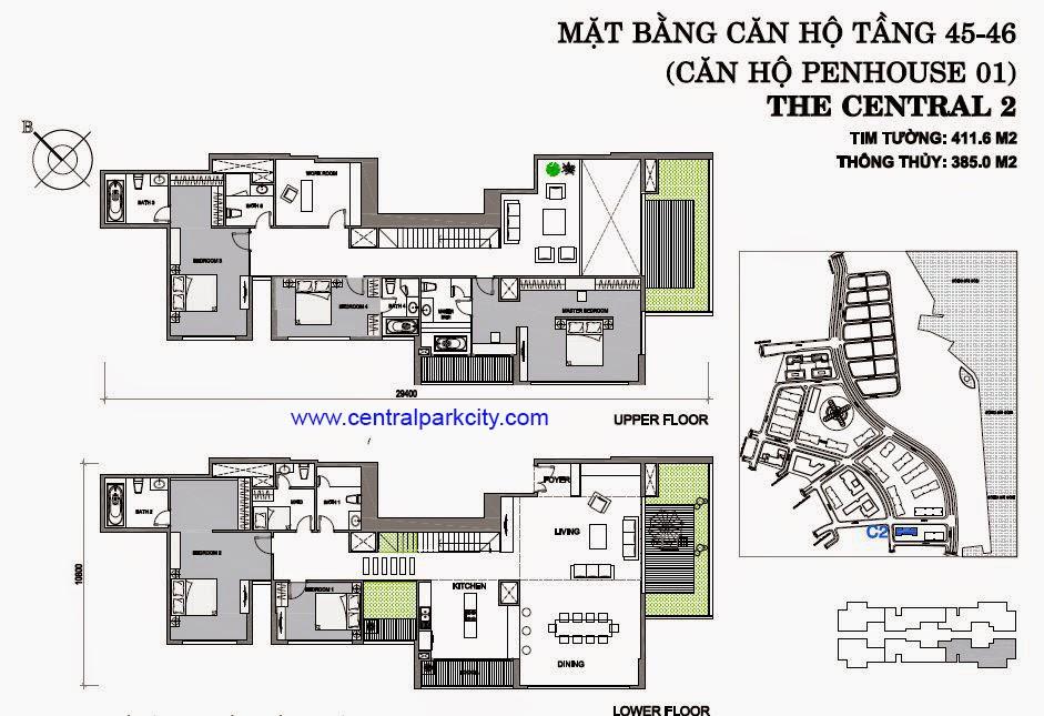 Vinhomes Central Park Penthouse - Căn số 01 tầng 45-46 - 4PN - 411.6m2