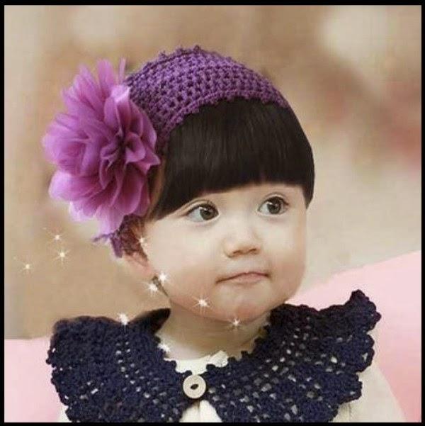 Bandana bayi lucu rajut warna ungu