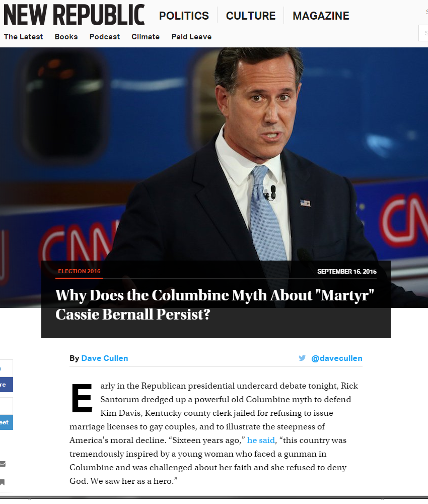dave cullen s blog santorum columbine martyr evolution of an 7 05pm friends started texting tweeting to me about it i was taking bobbysneakers for our goodbye walk run which lasted an hour and i didn t see any of