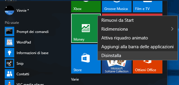Disinstallare app Windows 10 dal menu Start