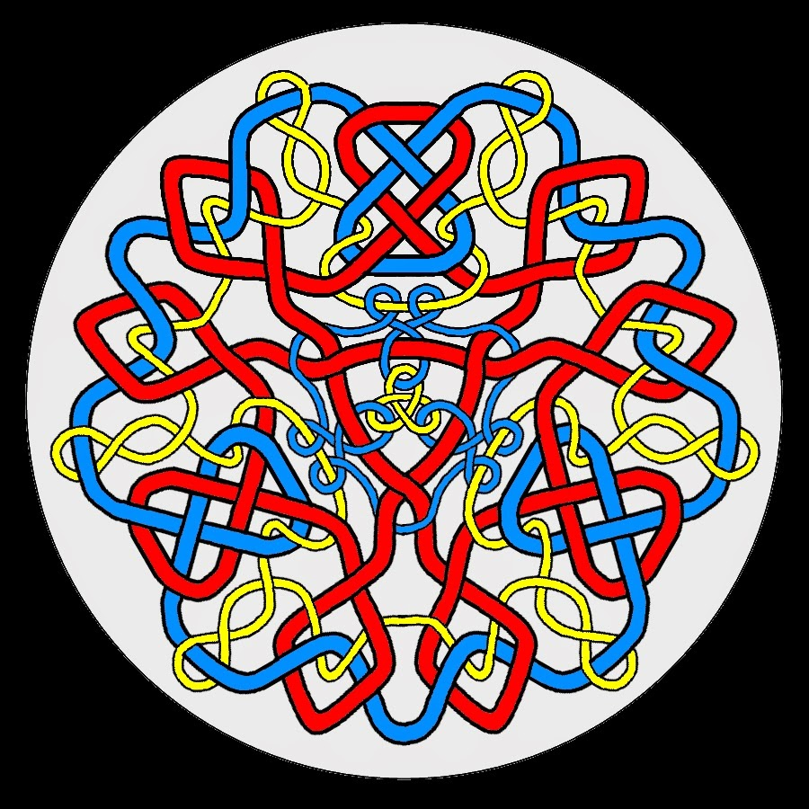 Celtic mandala in red, blue and yellow