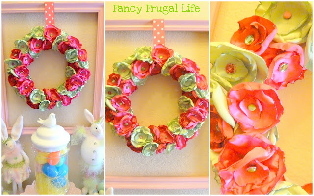 happy spring: satin flower spring wreath tutorial