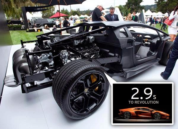 foto kerangka Mobil Lamborghini Aventador