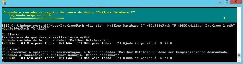 Como mover uma Mailbox database através do Exchange Management Shell